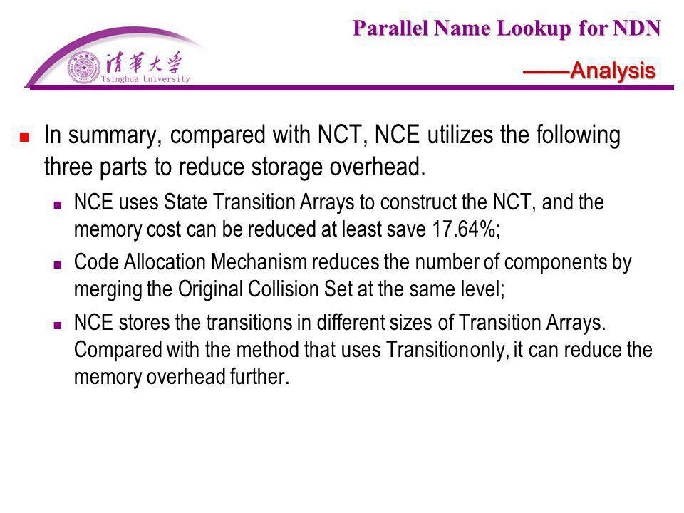 ——Analysis In summary, compared with NCT, NCE utilizes the following three parts to reduce storage overhead.