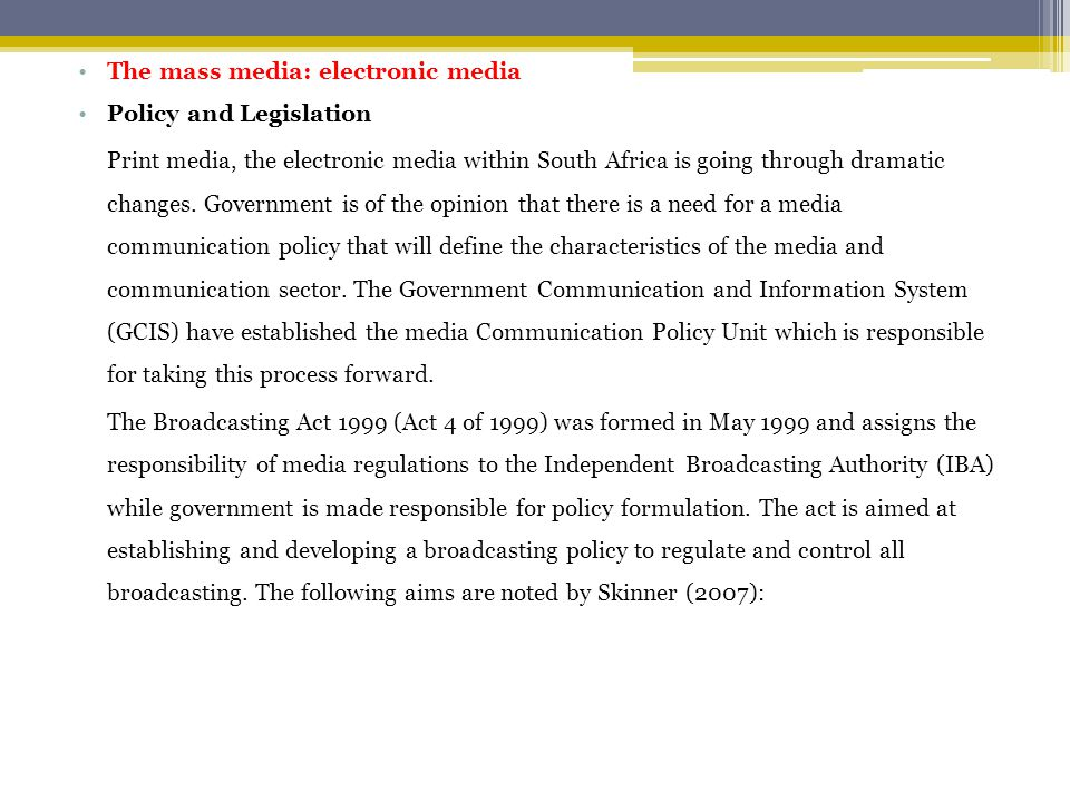 The mass media: electronic media