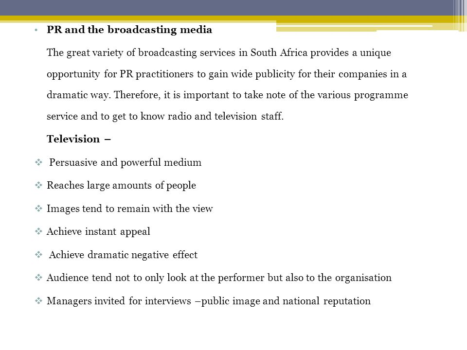 PR and the broadcasting media