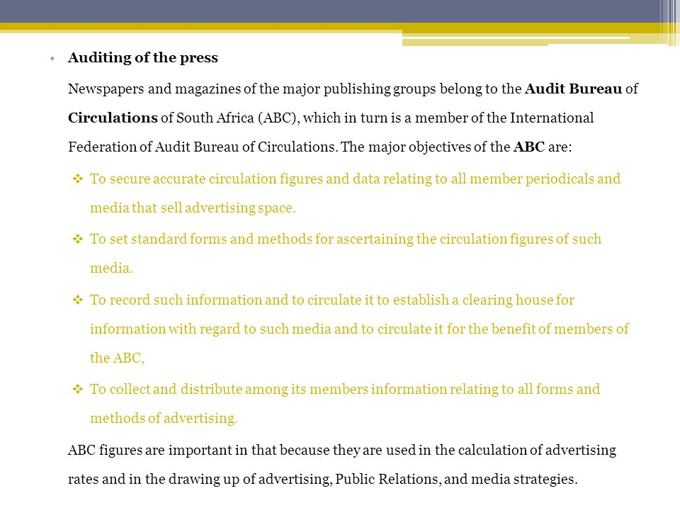 Auditing of the press