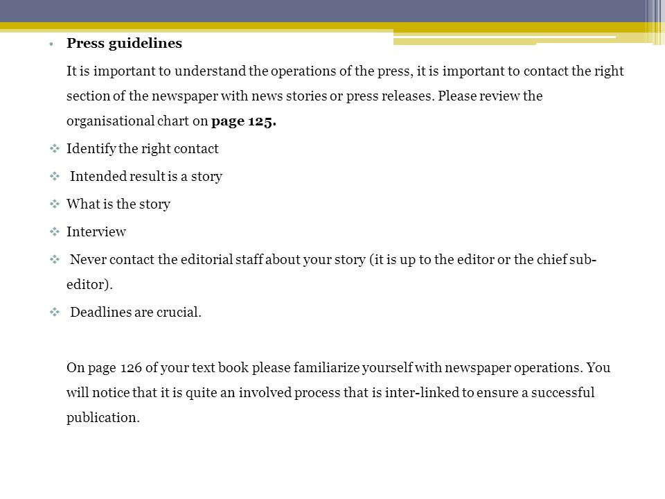 Press guidelines