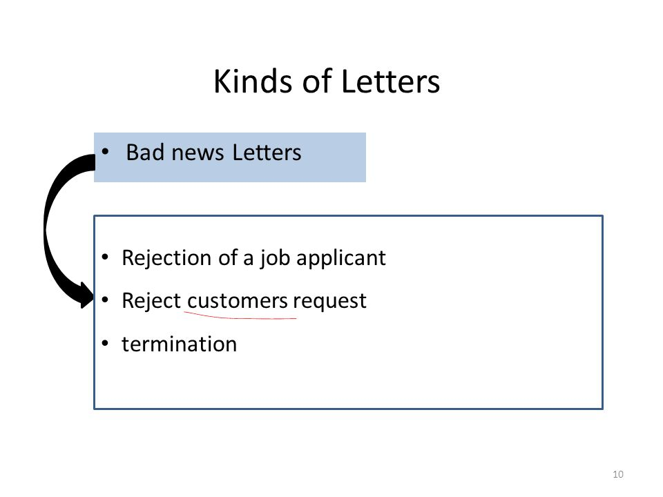Kinds of Letters Bad news Letters Rejection of a job applicant