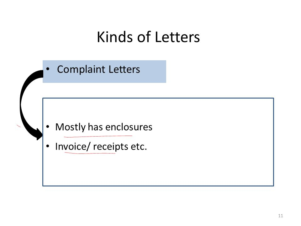Kinds of Letters Complaint Letters Mostly has enclosures