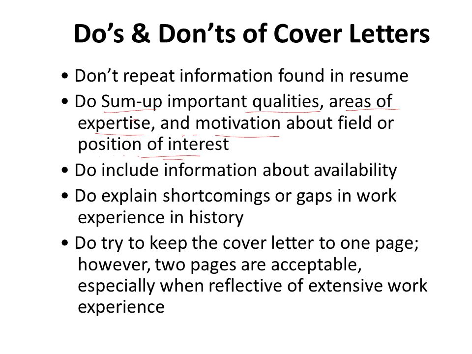 Do's & Don'ts of Cover Letters