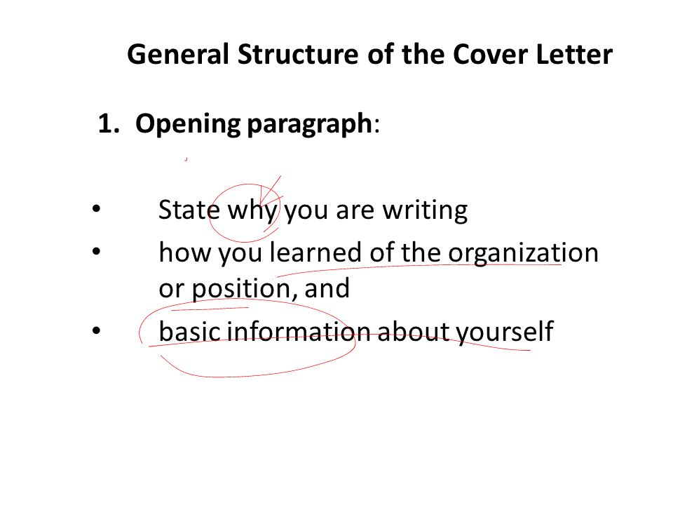 General Structure of the Cover Letter