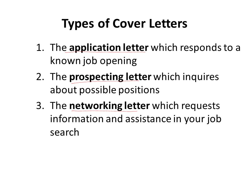 Types of Cover Letters The application letter which responds to a known job opening. The prospecting letter which inquires about possible positions.