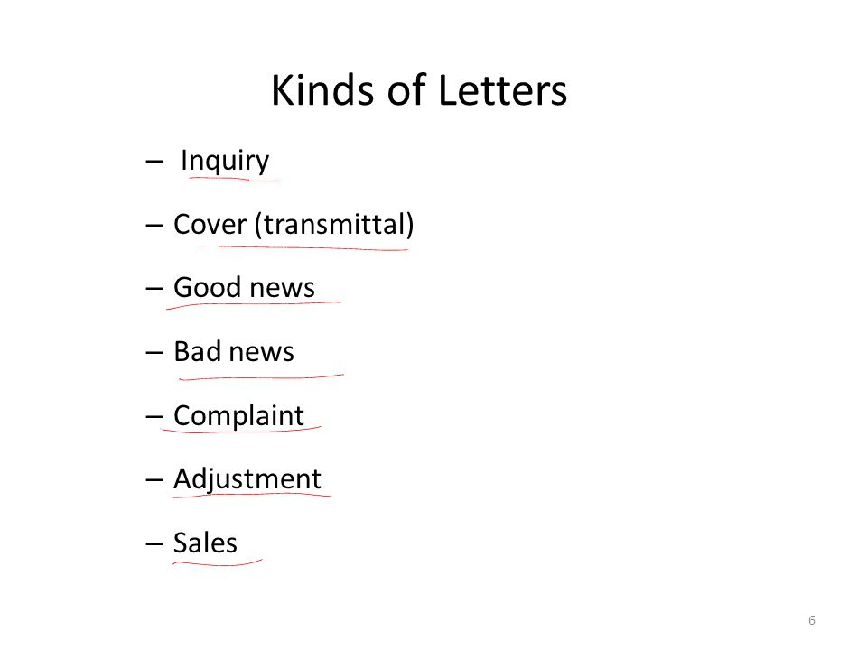 Kinds of Letters Inquiry Cover (transmittal) Good news Bad news