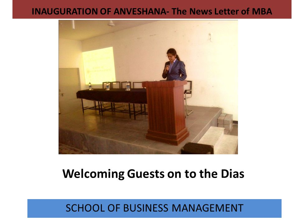 Welcoming Guests on to the Dias