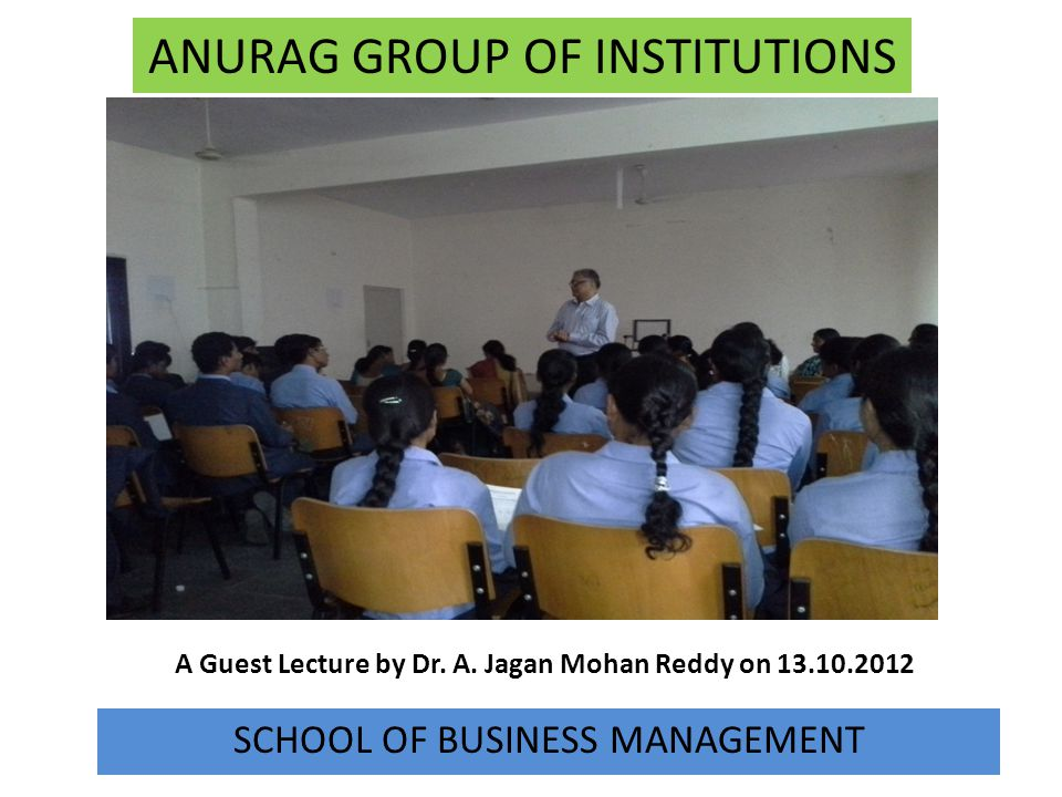 A Guest Lecture by Dr. A. Jagan Mohan Reddy on 13.10.2012
