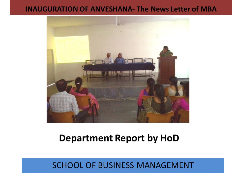 Department Report by HoD