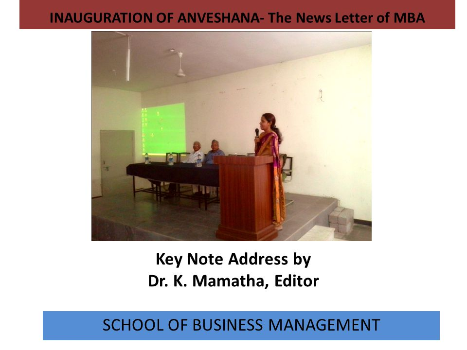 Key Note Address by Dr. K. Mamatha, Editor