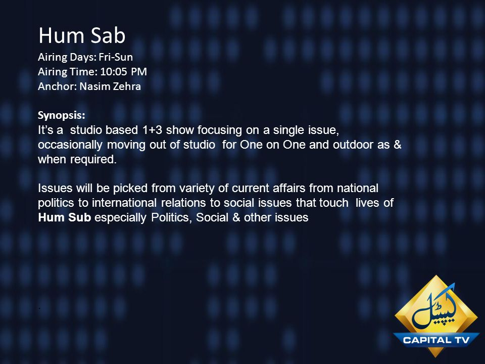 Hum Sab Airing Days: Fri-Sun Airing Time: 10:05 PM Anchor: Nasim Zehra