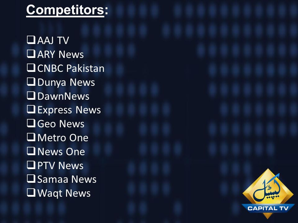 Competitors: AAJ TV ARY News CNBC Pakistan Dunya News DawnNews