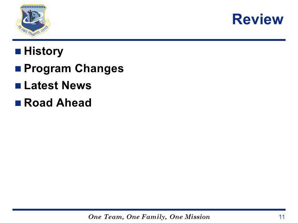Review History Program Changes Latest News Road Ahead