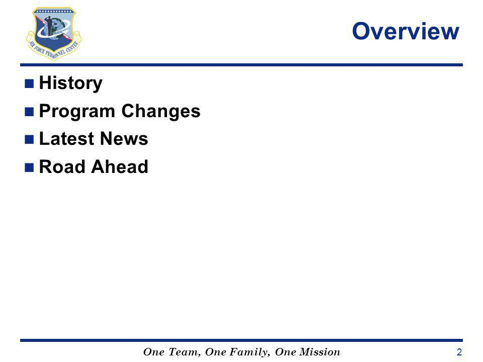 Overview History Program Changes Latest News Road Ahead