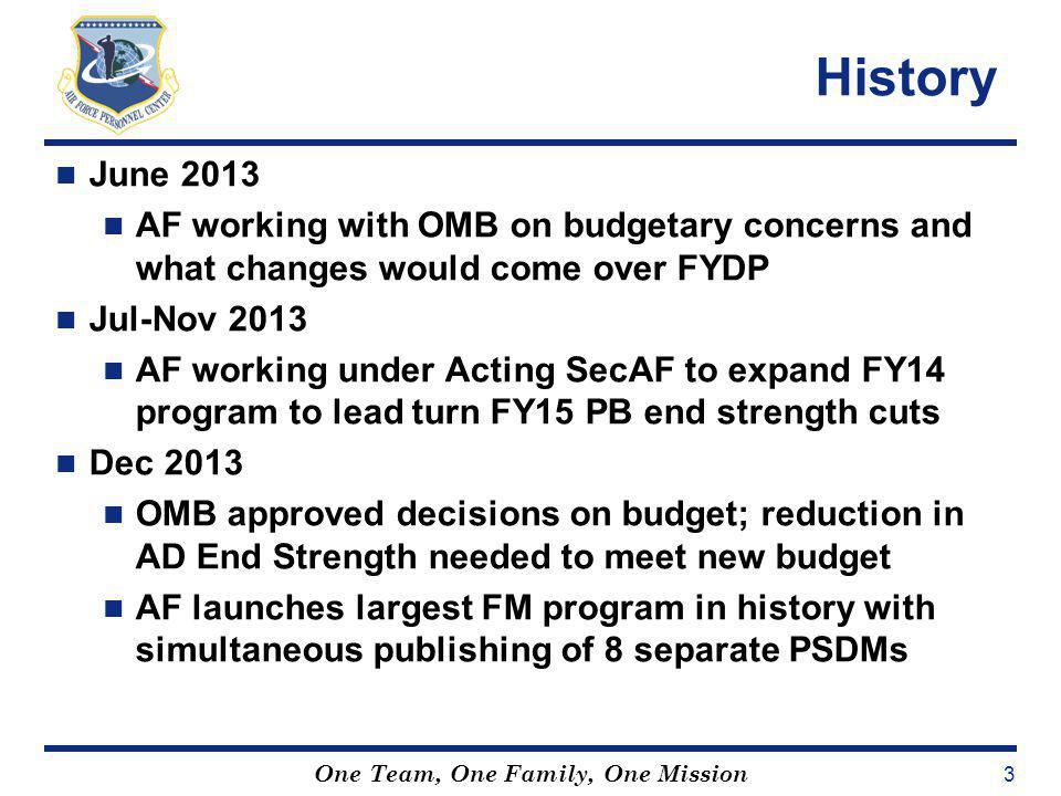 History June 2013. AF working with OMB on budgetary concerns and what changes would come over FYDP.