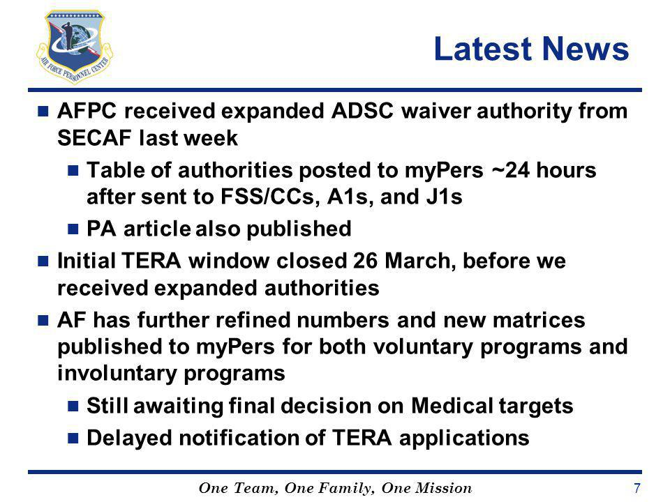 Latest News AFPC received expanded ADSC waiver authority from SECAF last week.