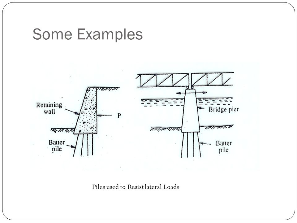 Some Examples Piles used to Resist lateral Loads