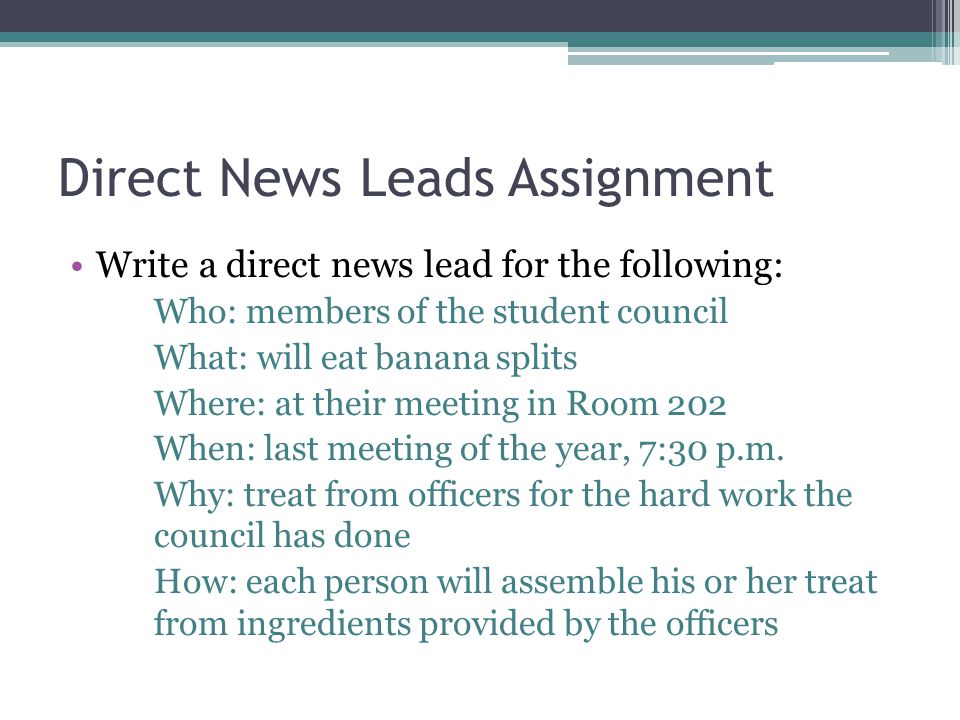 Direct News Leads Assignment