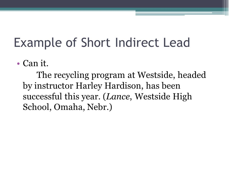 Example of Short Indirect Lead