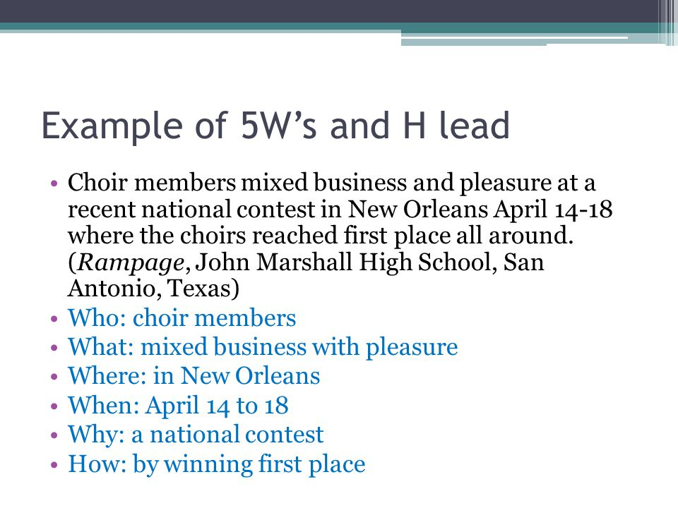 Example of 5W's and H lead