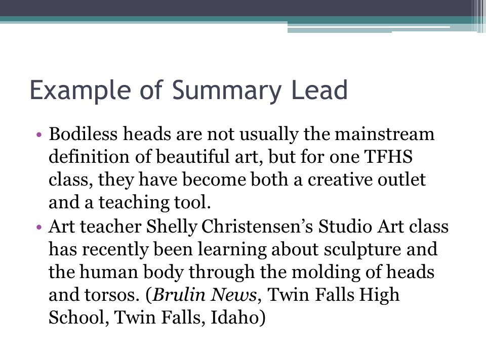Example of Summary Lead