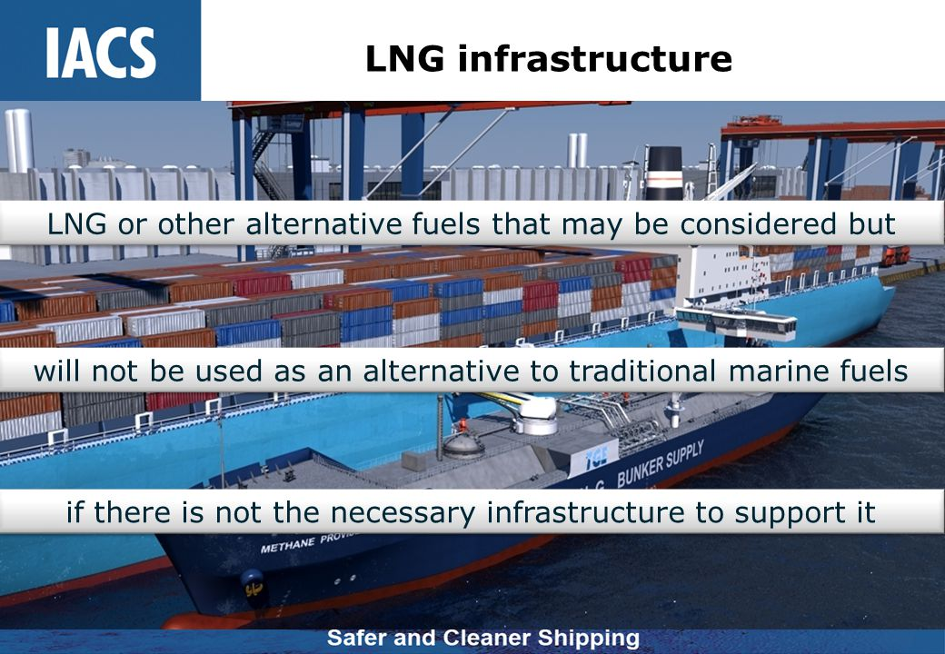 LNG infrastructure LNG or other alternative fuels that may be considered but. will not be used as an alternative to traditional marine fuels.
