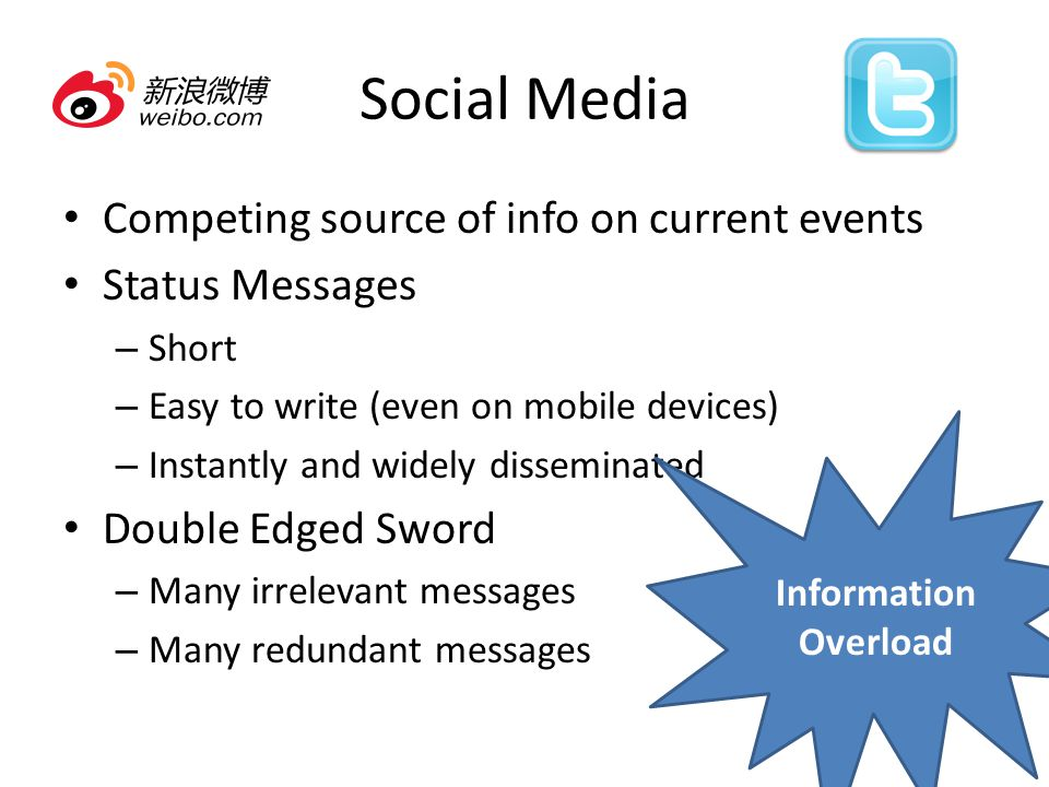 Social Media Competing source of info on current events