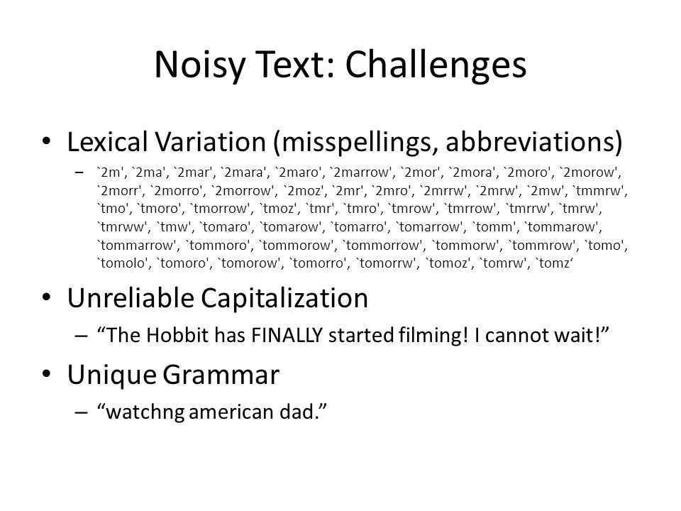 Noisy Text: Challenges