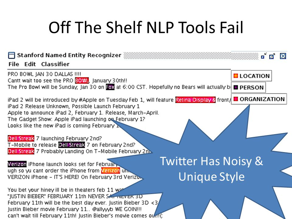 Off The Shelf NLP Tools Fail