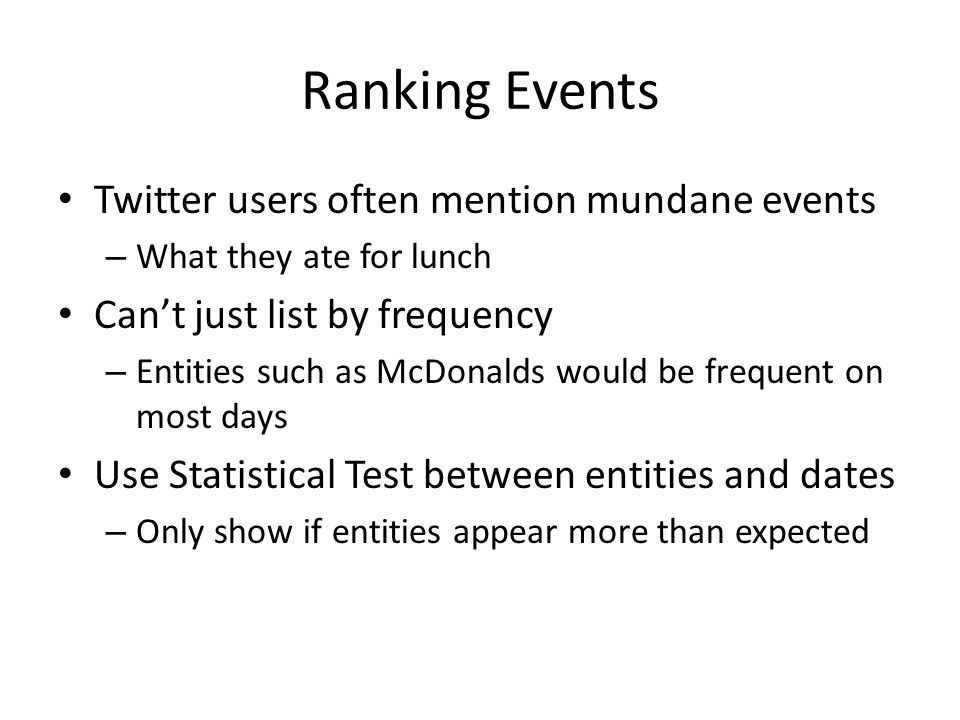 Ranking Events Twitter users often mention mundane events