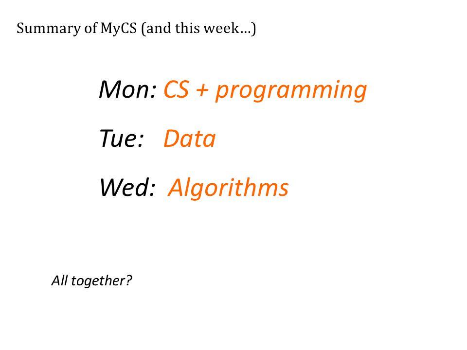 Mon: CS + programming Tue: Data Wed: Algorithms