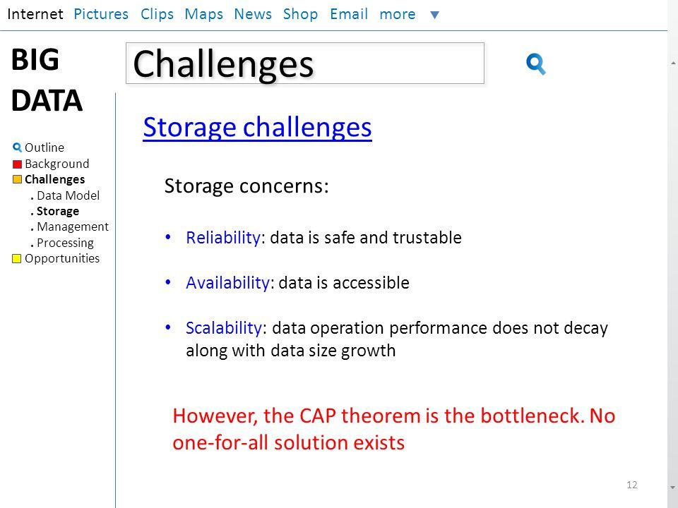 Challenges BIG DATA Storage challenges Storage concerns:
