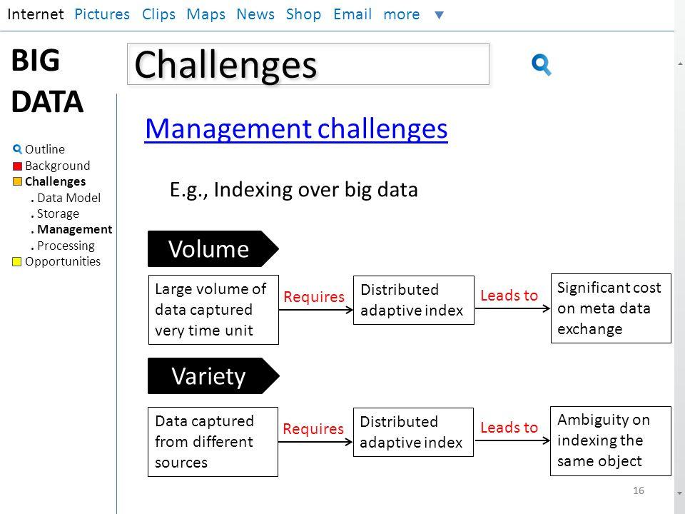 Challenges BIG DATA Management challenges Volume Variety