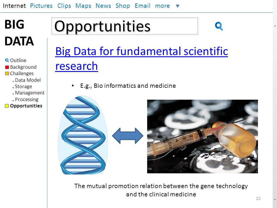 Opportunities BIG DATA Big Data for fundamental scientific research