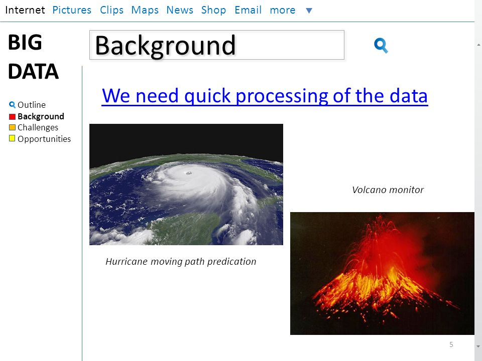 Background BIG DATA We need quick processing of the data Internet