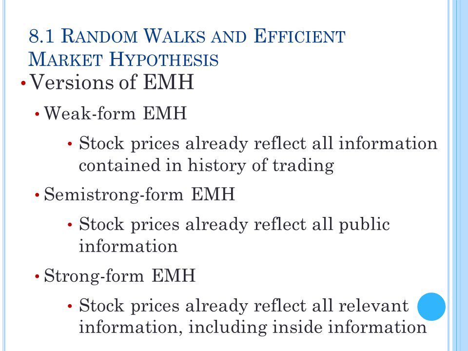 8.1 Random Walks and Efficient Market Hypothesis