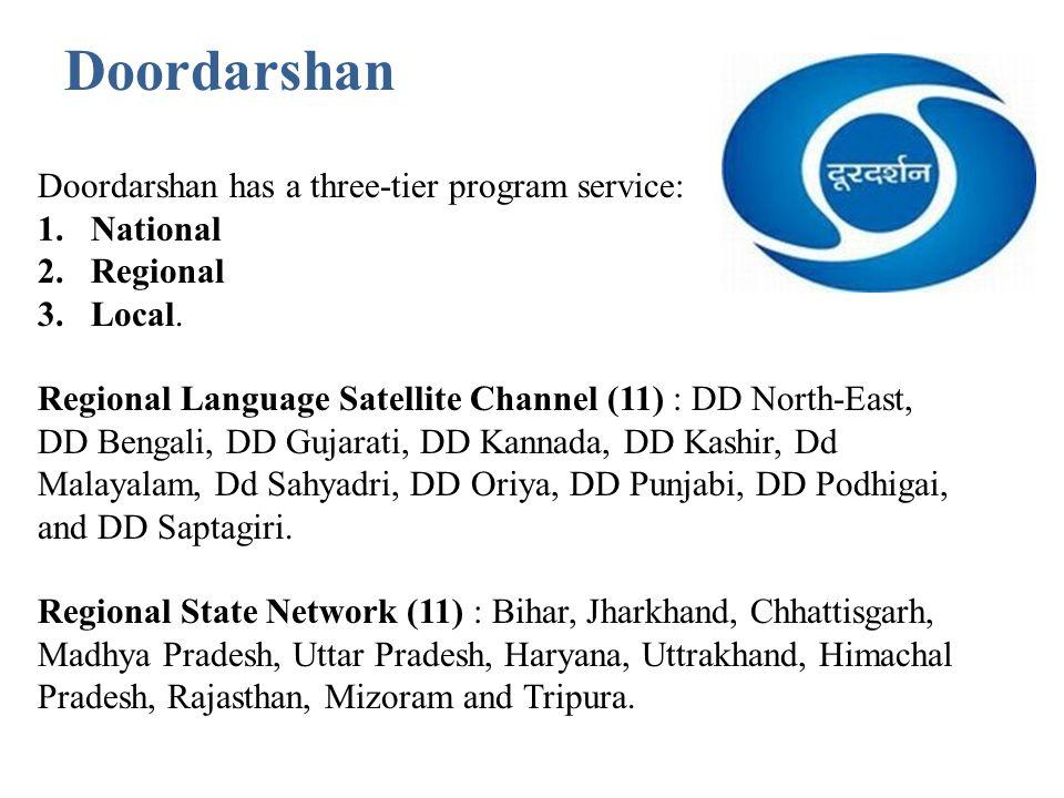 Doordarshan Doordarshan has a three-tier program service: National