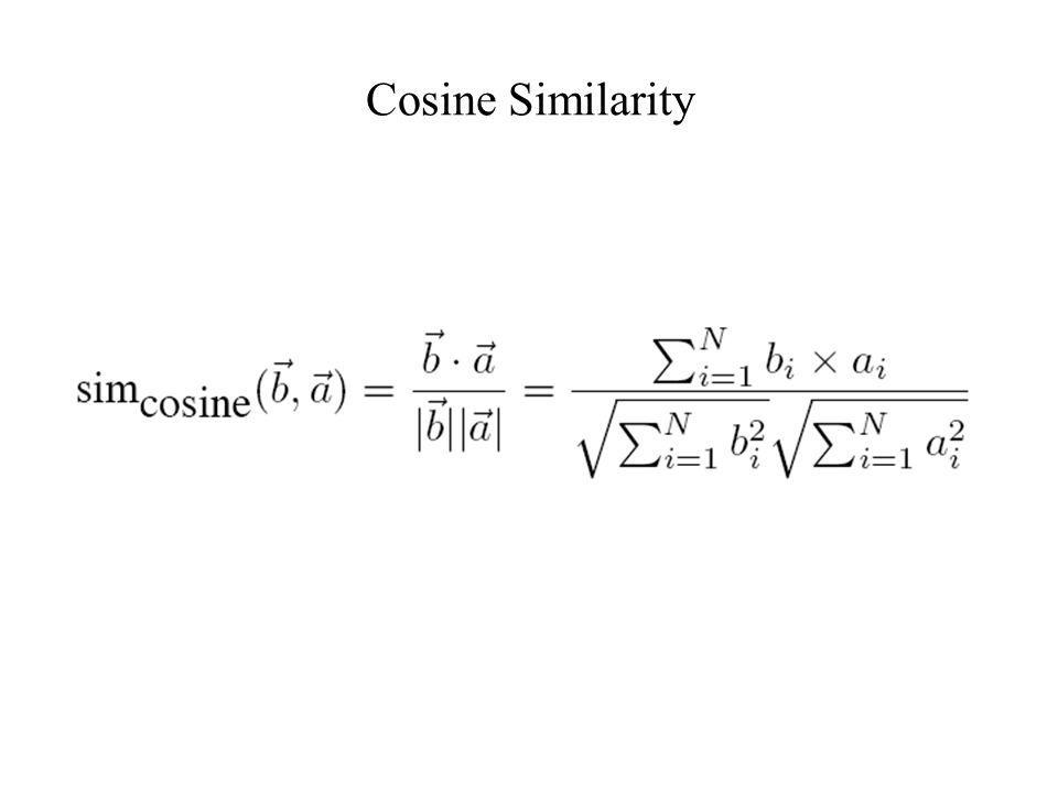 Cosine Similarity Normalized (by length) dot product of 2 lexical feature vectors