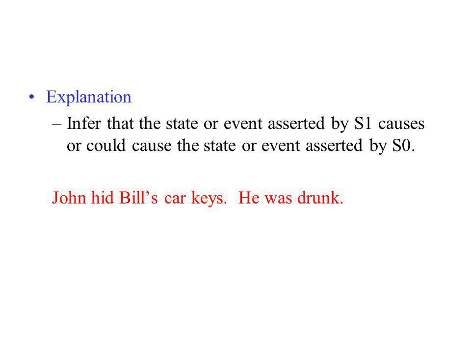 Explanation Infer that the state or event asserted by S1 causes or could cause the state or event asserted by S0.