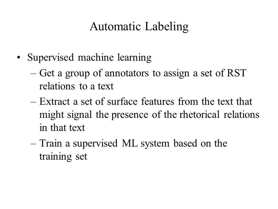 Automatic Labeling Supervised machine learning