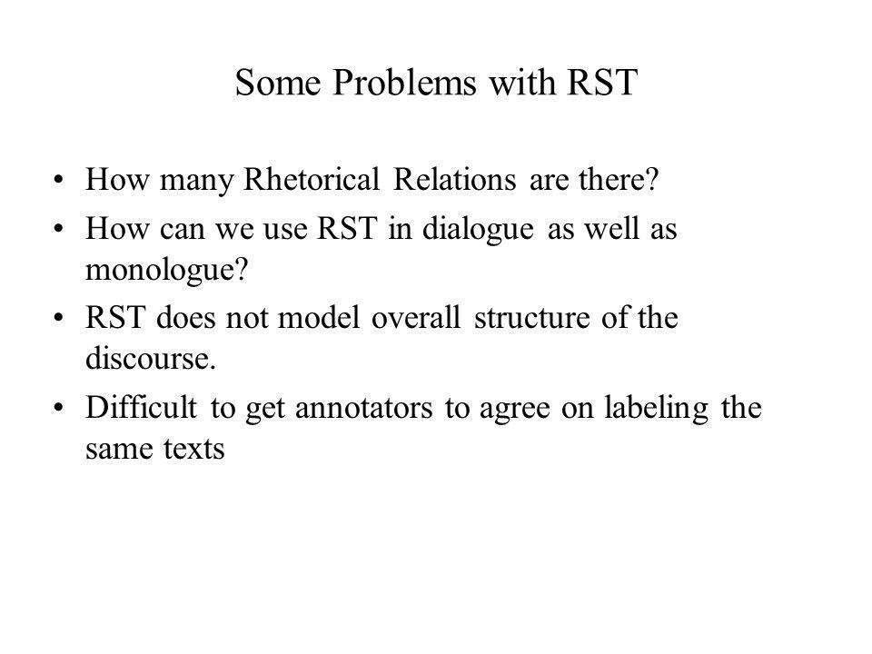 Some Problems with RST How many Rhetorical Relations are there