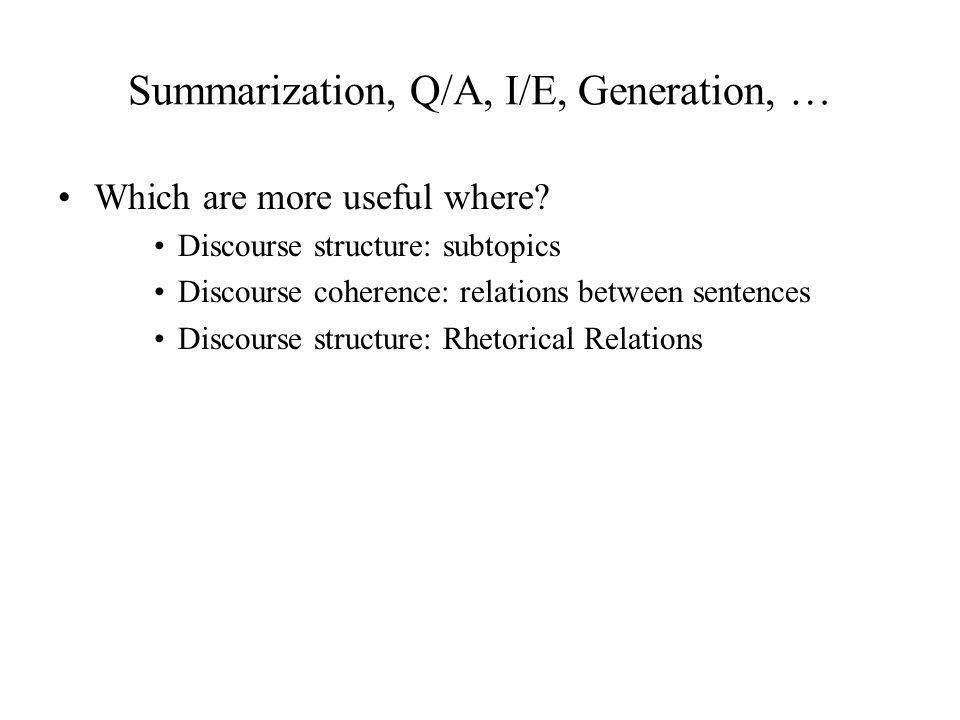 Summarization, Q/A, I/E, Generation, …