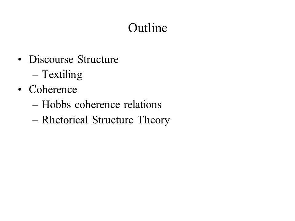 Outline Discourse Structure Textiling Coherence