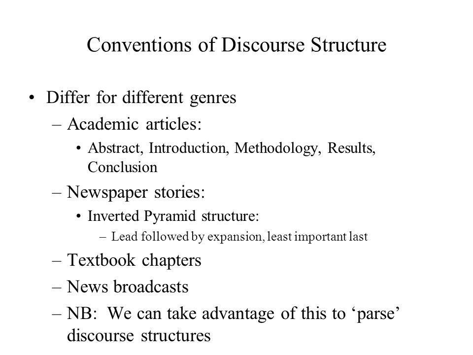 Conventions of Discourse Structure