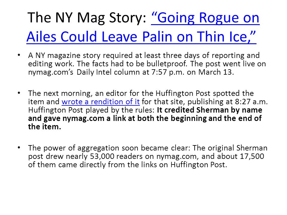 The NY Mag Story: Going Rogue on Ailes Could Leave Palin on Thin Ice,