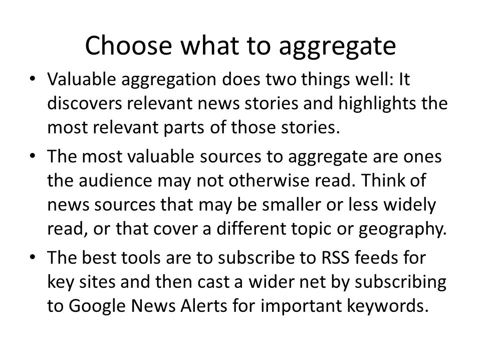 Choose what to aggregate