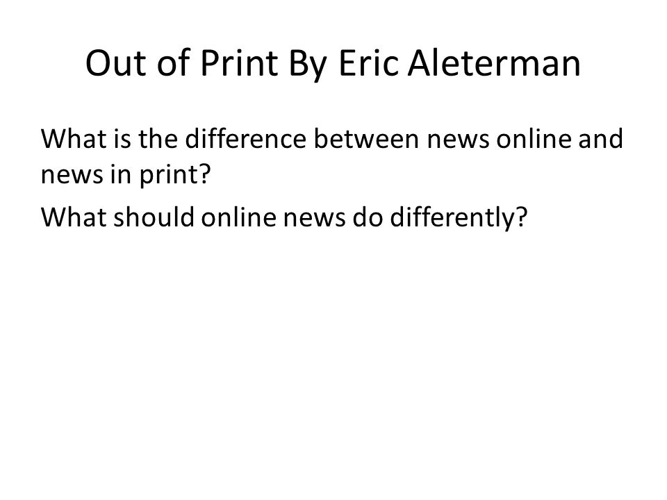 Out of Print By Eric Aleterman