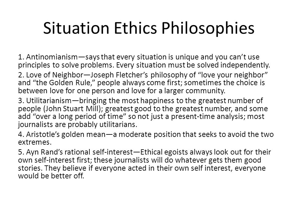Situation Ethics Philosophies
