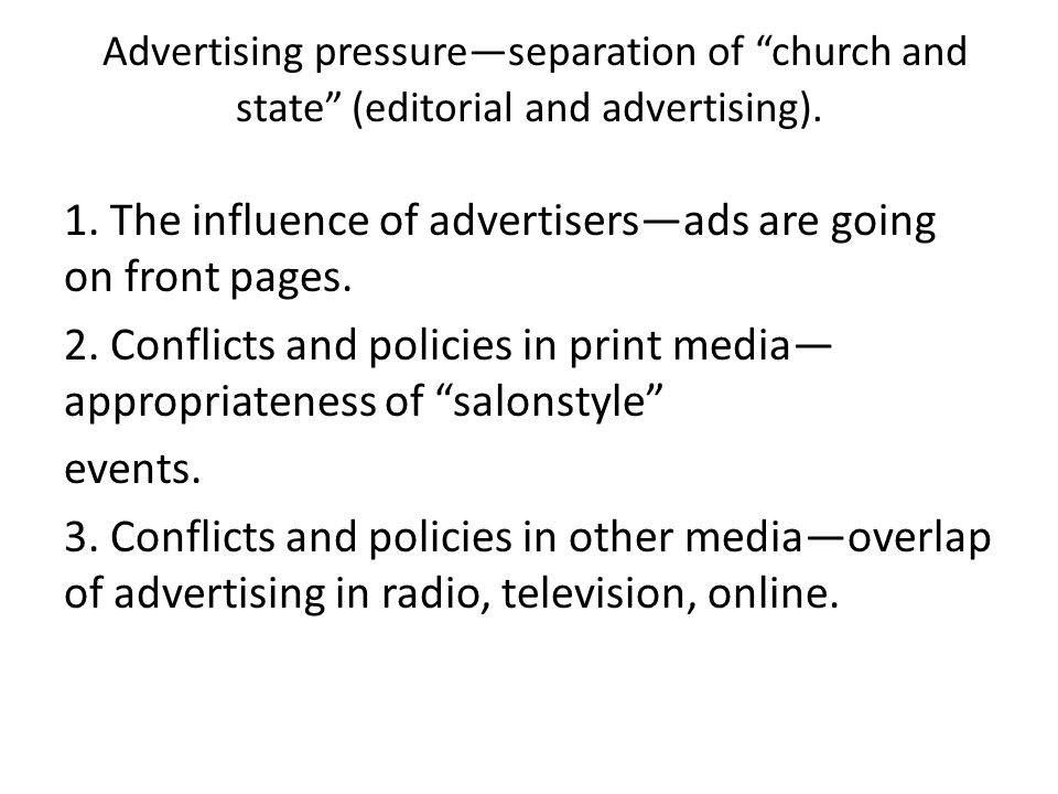 Advertising pressure—separation of church and state (editorial and advertising).